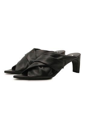 Женские кожаные мюли JIL SANDER черного цвета, арт. JS36011A-13011   Фото 1