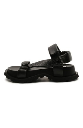 Женские кожаные сандалии JIL SANDER черного цвета, арт. JS36045A-13011 | Фото 3 (Подошва: Платформа; Каблук высота: Низкий; Материал внутренний: Натуральная кожа)
