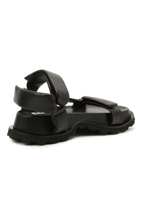 Женские кожаные сандалии JIL SANDER черного цвета, арт. JS36045A-13011 | Фото 4 (Подошва: Платформа; Каблук высота: Низкий; Материал внутренний: Натуральная кожа)