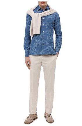 Мужская рубашка из хлопка и льна KITON синего цвета, арт. UMCNERCH0763202 | Фото 2