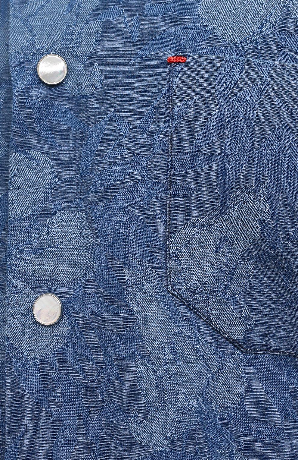 Мужская рубашка из хлопка и льна KITON синего цвета, арт. UMCNERCH0763202   Фото 5 (Рукава: Длинные; Рубашки М: Regular Fit; Манжеты: На кнопках; Воротник: Акула; Случай: Повседневный; Длина (для топов): Стандартные; Принт: С принтом; Материал внешний: Хлопок, Лен; Стили: Кэжуэл)