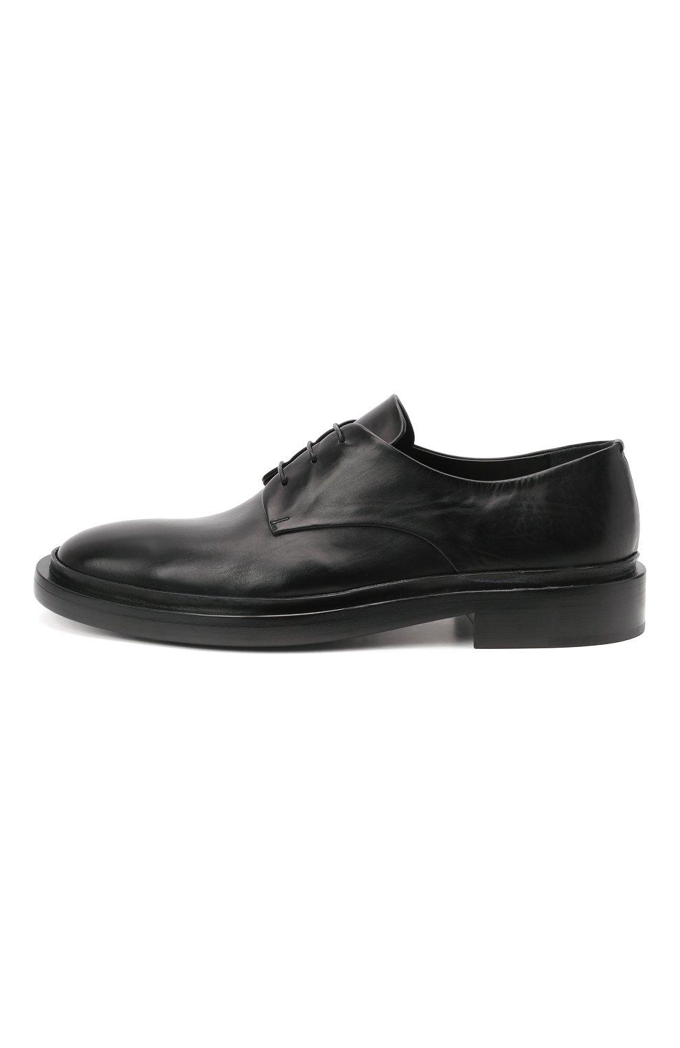 Мужские кожаные дерби JIL SANDER черного цвета, арт. JI36501A-13110   Фото 3 (Материал внутренний: Натуральная кожа; Стили: Классический)