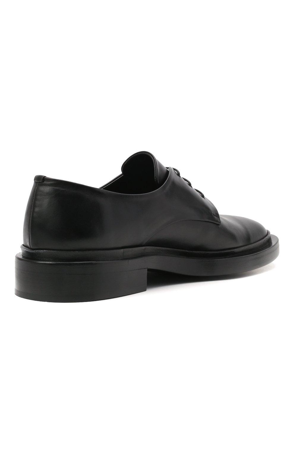 Мужские кожаные дерби JIL SANDER черного цвета, арт. JI36501A-13110   Фото 4 (Материал внутренний: Натуральная кожа; Стили: Классический)