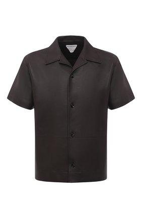 Мужская кожаная рубашка BOTTEGA VENETA темно-коричневого цвета, арт. 646334/VKV90 | Фото 1 (Принт: Однотонные; Случай: Повседневный; Длина (для топов): Стандартные; Воротник: Отложной; Рукава: Короткие; Стили: Минимализм)