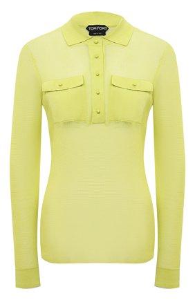 Женский пуловер TOM FORD зеленого цвета, арт. MAK1047-YAX292 | Фото 1 (Рукава: Длинные; Женское Кросс-КТ: Пуловер-одежда; Длина (для топов): Стандартные; Материал внешний: Хлопок, Синтетический материал; Стили: Гламурный)