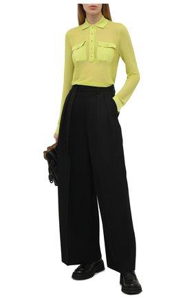 Женский пуловер TOM FORD зеленого цвета, арт. MAK1047-YAX292 | Фото 2 (Рукава: Длинные; Женское Кросс-КТ: Пуловер-одежда; Длина (для топов): Стандартные; Материал внешний: Хлопок, Синтетический материал; Стили: Гламурный)