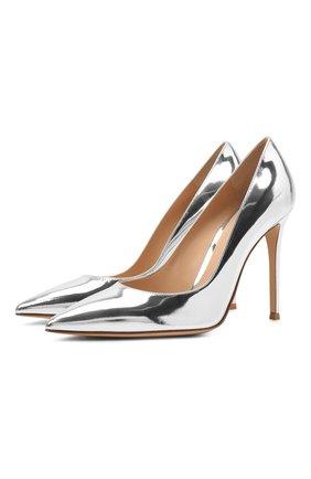 Женские кожаные туфли gianvito 105 GIANVITO ROSSI серебряного цвета, арт. G28470.15RIC.METARGE   Фото 1