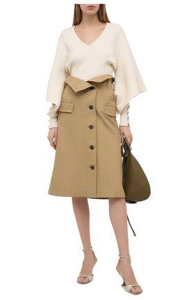 Женские кожаные босоножки LANVIN золотого цвета, арт. FW-SAGS00-LAMI-P21 | Фото 2