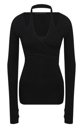 Женский хлопковый пуловер HELMUT LANG черного цвета, арт. K10HW513 | Фото 1