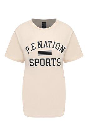 Женская хлопковая футболка P.E. NATION разноцветного цвета, арт. 20PE4T175 | Фото 1