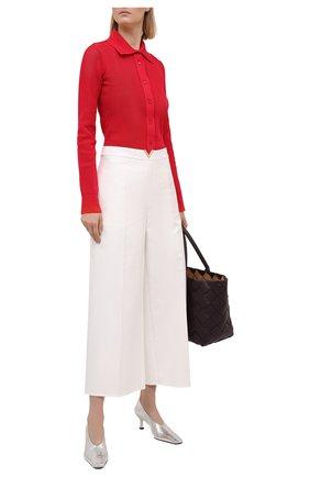 Женские хлопковые брюки VALENTINO белого цвета, арт. VB3RB47575Y | Фото 2