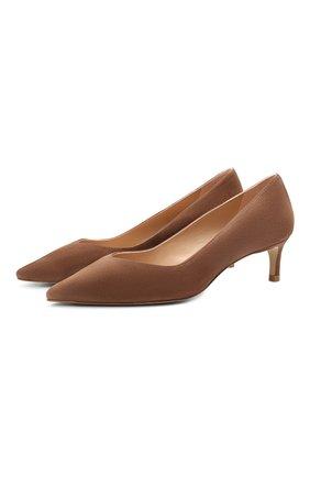 Женские замшевые туфли anny STUART WEITZMAN светло-коричневого цвета, арт. S0584 | Фото 1