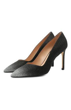 Женские текстильные туфли anny STUART WEITZMAN черного цвета, арт. S0601 | Фото 1
