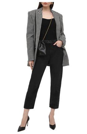 Женские кожаные туфли anny STUART WEITZMAN черного цвета, арт. S5255 | Фото 2