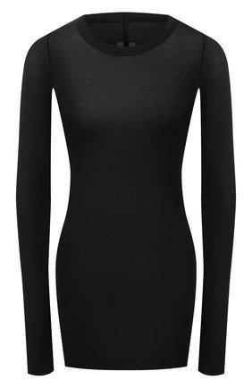 Женский пуловер из вискозы и шелка RICK OWENS черного цвета, арт. RP21S3202/RC   Фото 1
