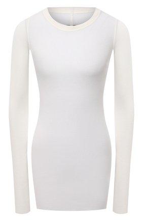 Женский пуловер из вискозы и шелка RICK OWENS белого цвета, арт. RP21S3202/RC   Фото 1