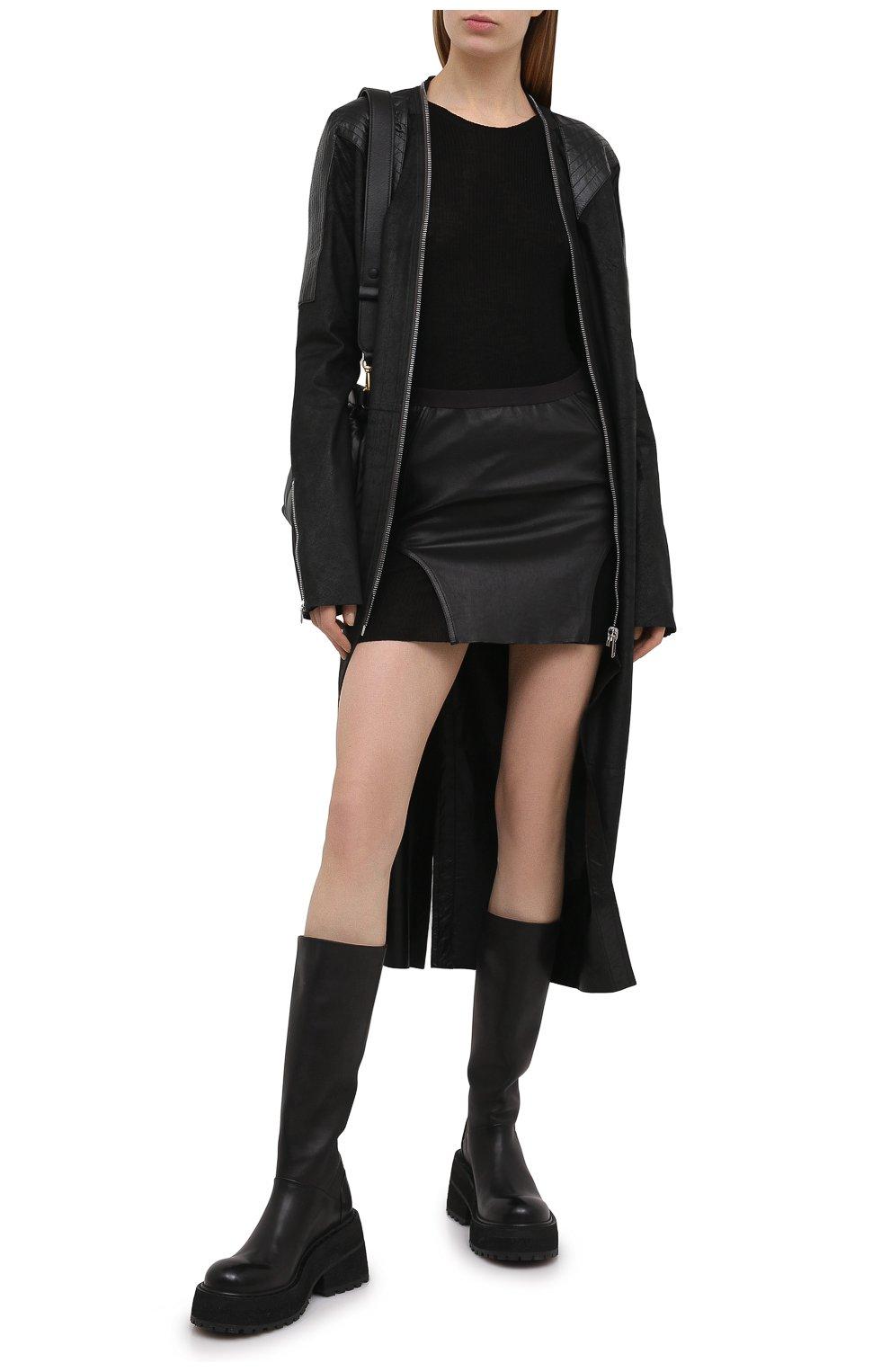 Женская юбка RICK OWENS черного цвета, арт. RP21S3347/LS   Фото 2