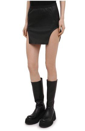 Женская юбка RICK OWENS черного цвета, арт. RP21S3347/LS   Фото 3