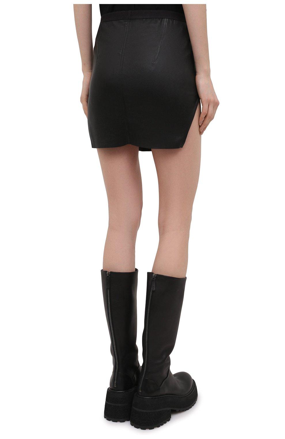 Женская юбка RICK OWENS черного цвета, арт. RP21S3347/LS   Фото 4