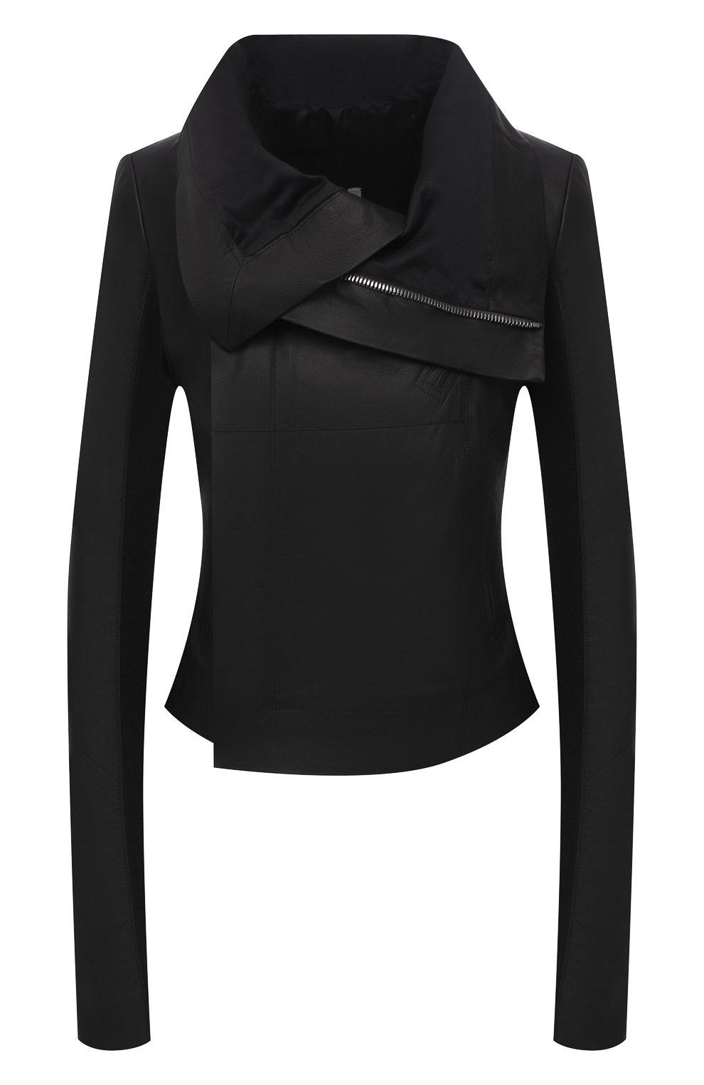 Женская кожаная куртка RICK OWENS черного цвета, арт. RP21S3708/LP   Фото 1