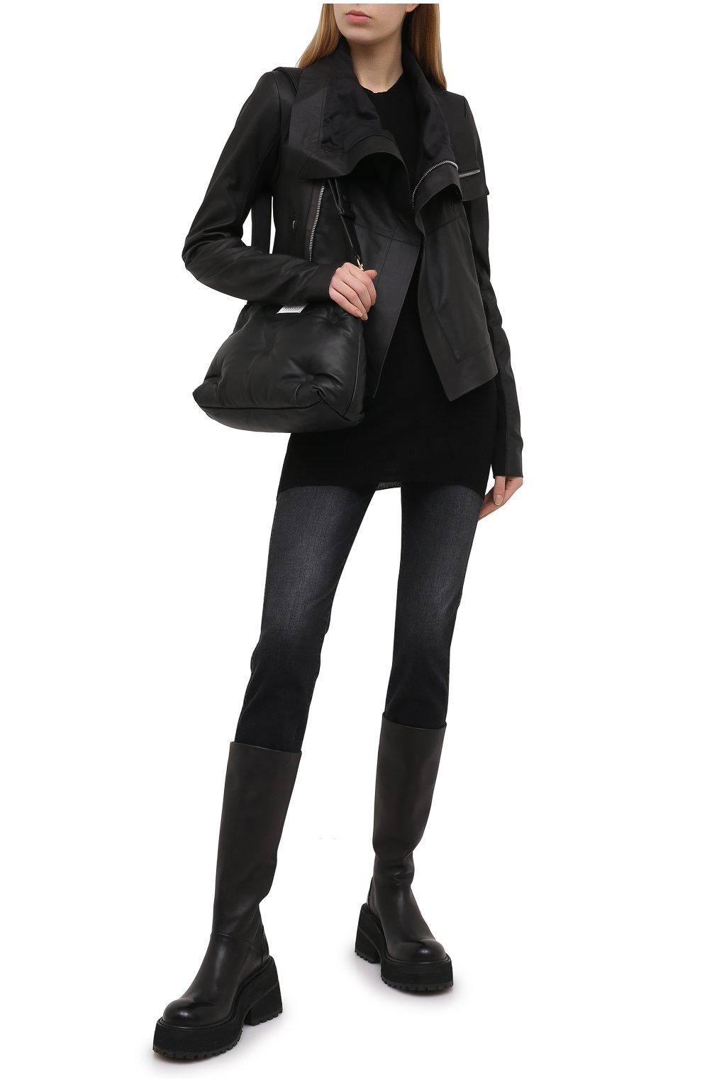 Женская кожаная куртка RICK OWENS черного цвета, арт. RP21S3708/LP   Фото 2