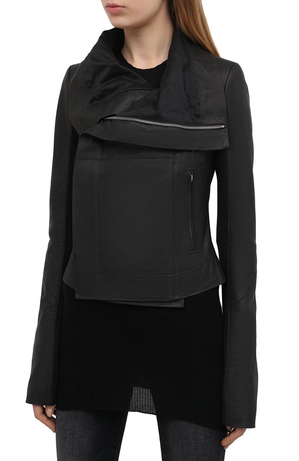 Женская кожаная куртка RICK OWENS черного цвета, арт. RP21S3708/LP   Фото 3