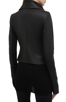 Женская кожаная куртка RICK OWENS черного цвета, арт. RP21S3708/LP   Фото 4