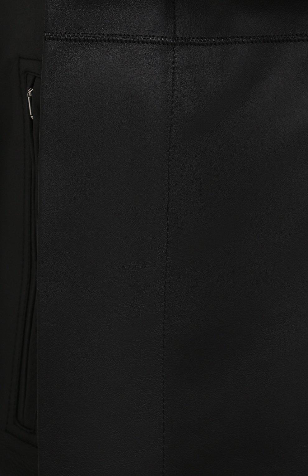 Женская кожаная куртка RICK OWENS черного цвета, арт. RP21S3708/LP   Фото 5