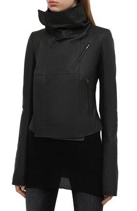 Женская кожаная куртка RICK OWENS черного цвета, арт. RP21S3708/LP   Фото 6