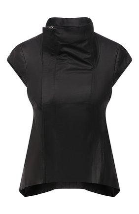 Женский кожаный жилет RICK OWENS черного цвета, арт. RP21S3730/LP   Фото 1