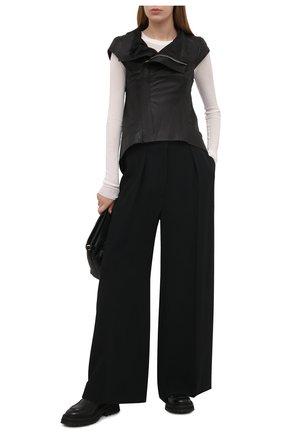Женский кожаный жилет RICK OWENS черного цвета, арт. RP21S3730/LP   Фото 2