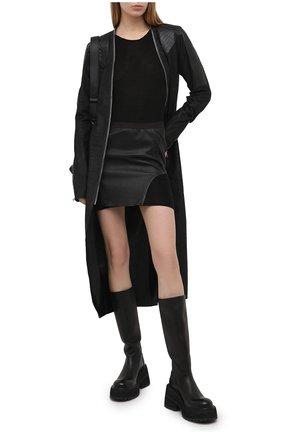 Женское кожаное пальто RICK OWENS черного цвета, арт. RP21S3945/LBAB | Фото 2