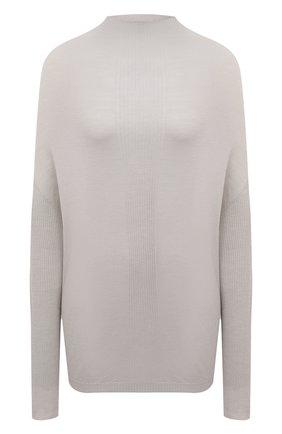 Женский шерстяной пуловер RICK OWENS светло-серого цвета, арт. RP21S3629/M   Фото 1