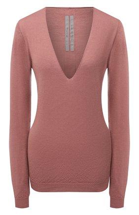 Женский кашемировый пуловер RICK OWENS темно-розового цвета, арт. RP21S3623/WS   Фото 1