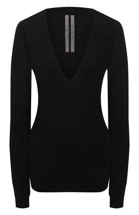 Женский кашемировый пуловер RICK OWENS черного цвета, арт. RP21S3623/WS   Фото 1