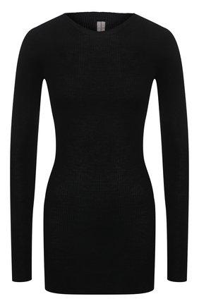 Женский шерстяной пуловер RICK OWENS черного цвета, арт. RP21S3621/RIBM   Фото 1