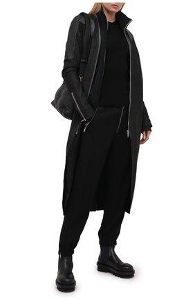 Женский шерстяной пуловер RICK OWENS черного цвета, арт. RP21S3621/RIBM   Фото 2