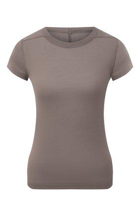 Женская футболка из вискозы и шелка RICK OWENS серого цвета, арт. RP21S3235/JS   Фото 1