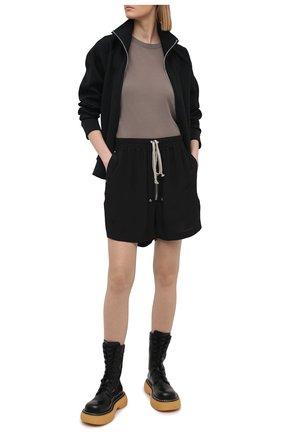 Женская футболка из вискозы и шелка RICK OWENS серого цвета, арт. RP21S3235/JS   Фото 2
