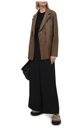Женская футболка из вискозы и шелка RICK OWENS черного цвета, арт. RP21S3235/JS   Фото 2
