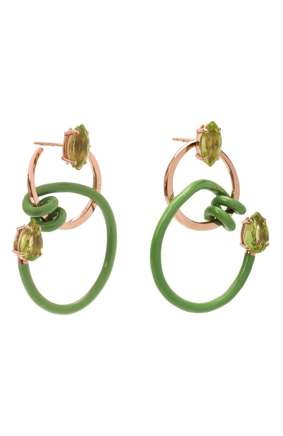 Женские серьги BEA BONGIASCA зеленого цвета, арт. VE214RGS-M/M | Фото 3