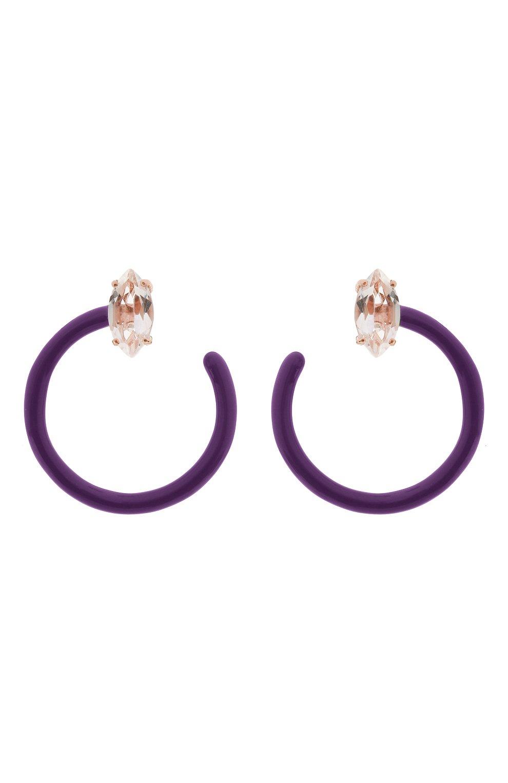 Женские серьги BEA BONGIASCA фиолетового цвета, арт. VE290RGS-P/M | Фото 1 (Материал: Металл)
