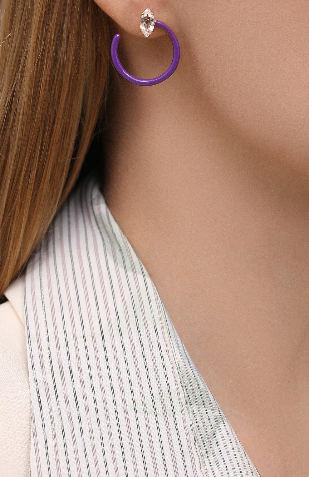 Женские серьги BEA BONGIASCA фиолетового цвета, арт. VE290RGS-P/M | Фото 2 (Материал: Металл)