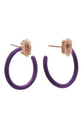 Женские серьги BEA BONGIASCA фиолетового цвета, арт. VE290RGS-P/M | Фото 3 (Материал: Металл)