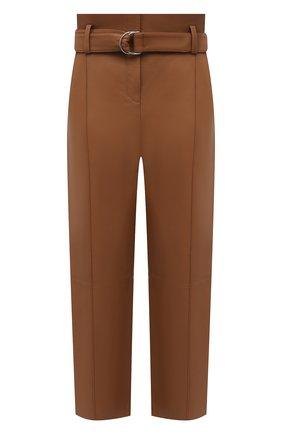 Женские кожаные брюки YVES SALOMON коричневого цвета, арт. 21WYP205XXAPXX | Фото 1