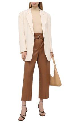 Женские кожаные брюки YVES SALOMON коричневого цвета, арт. 21WYP205XXAPXX | Фото 2