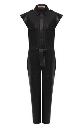 Женский кожаный комбинезон YVES SALOMON черного цвета, арт. 20EYP231XXAPAR | Фото 1