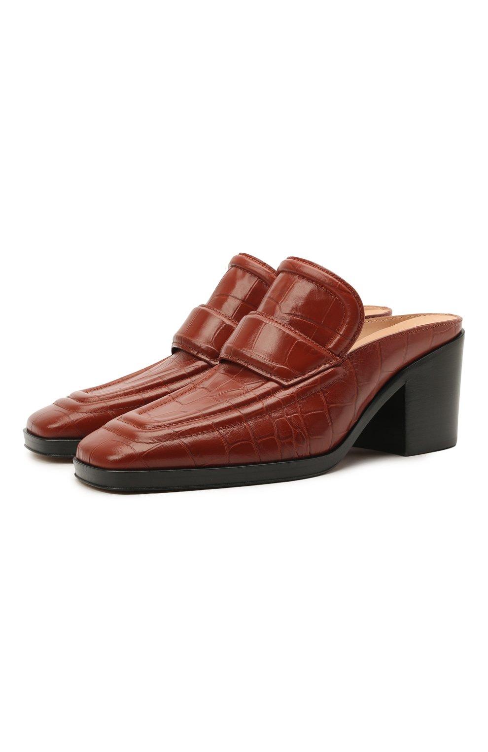 Женские кожаные мюли BOTTEGA VENETA коричневого цвета, арт. 651366/V0G80 | Фото 1