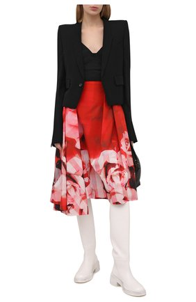 Женская хлопковая юбка ALEXANDER MCQUEEN красного цвета, арт. 651667/QCACC | Фото 2