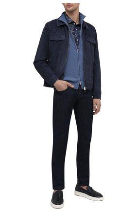 Мужские кожаные слипоны SANTONI темно-синего цвета, арт. MBCD21439BARCMMDU55 | Фото 2